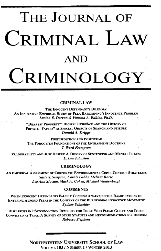 handle is hein.journals/jclc103 and id is 1 raw text is: THE JOURNAL OF