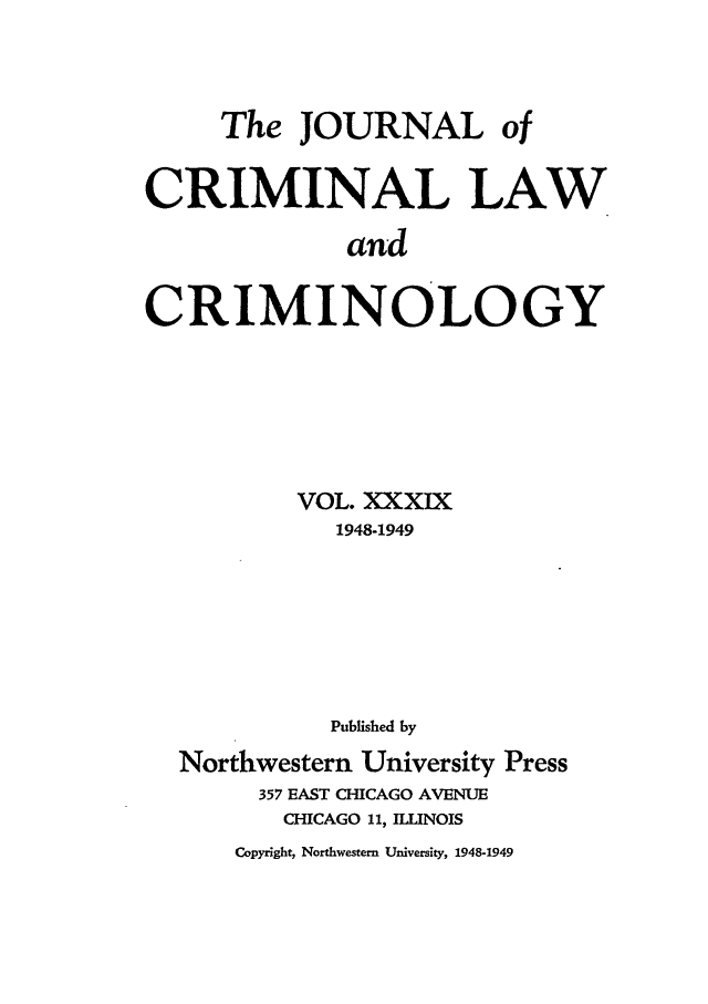 handle is hein.journals/jclc39 and id is 1 raw text is: The JOURNAL of