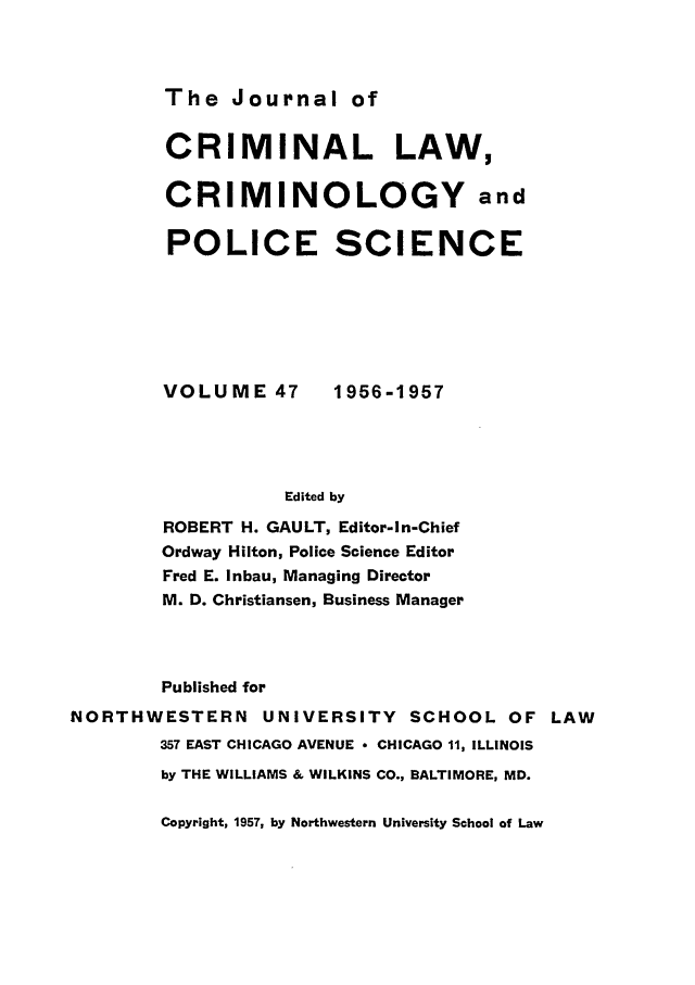 handle is hein.journals/jclc47 and id is 1 raw text is: The Journal of