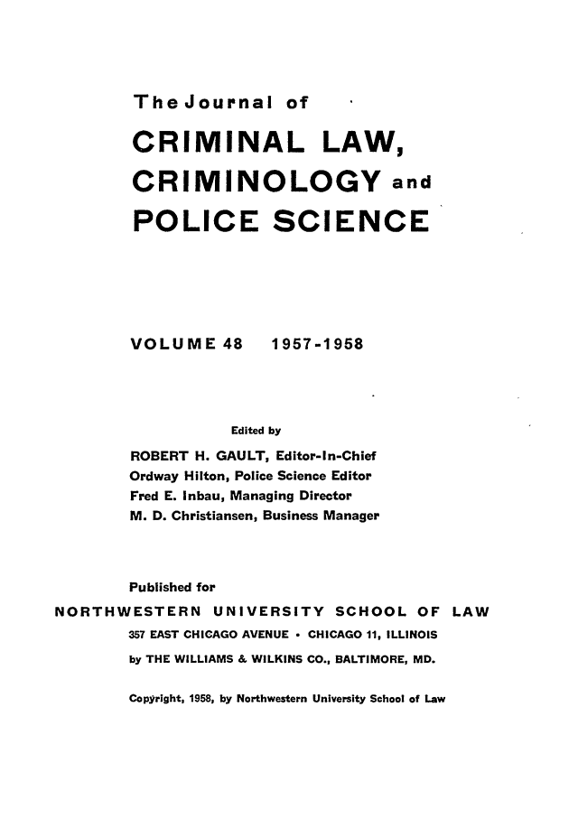 handle is hein.journals/jclc48 and id is 1 raw text is: The Journal of