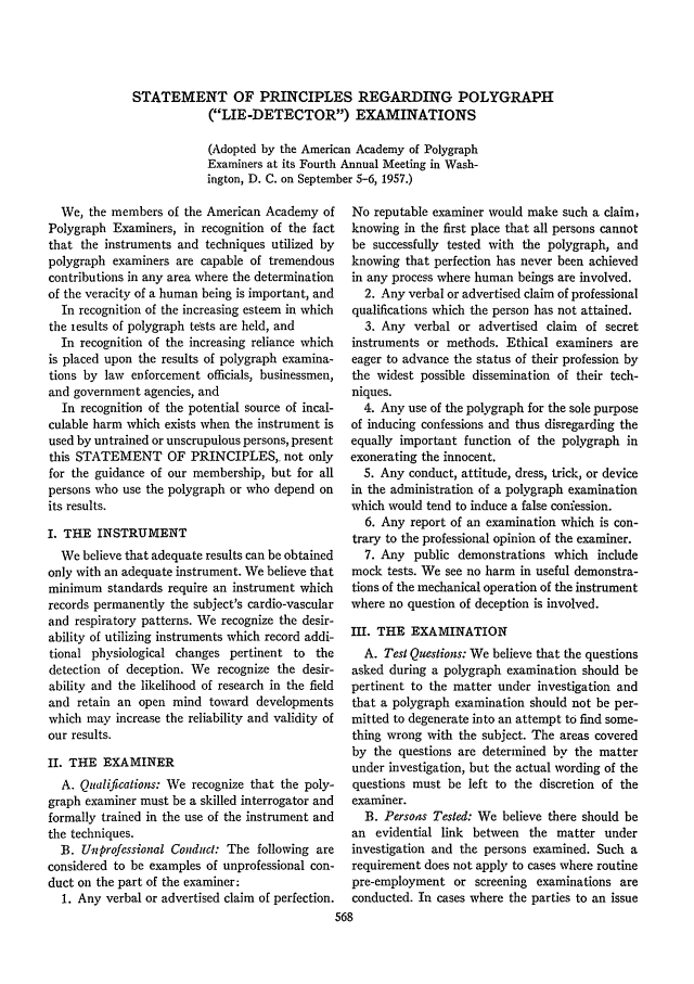 handle is hein.journals/jclc48 and id is 580 raw text is: STATEMENT OF PRINCIPLES REGARDING POLYGRAPH