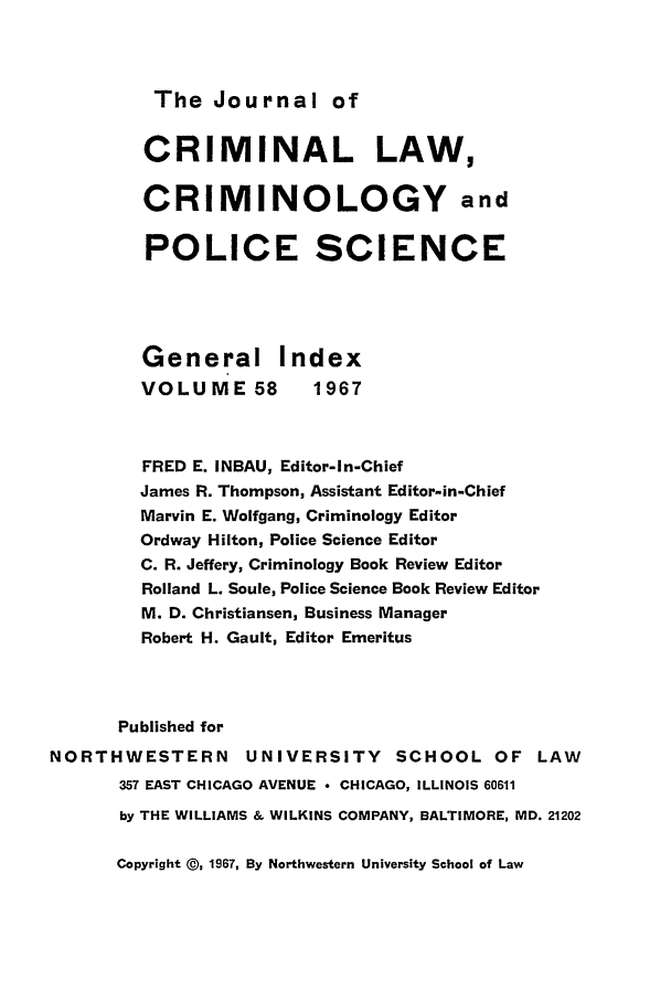 handle is hein.journals/jclc58 and id is 1 raw text is: The Journal of
