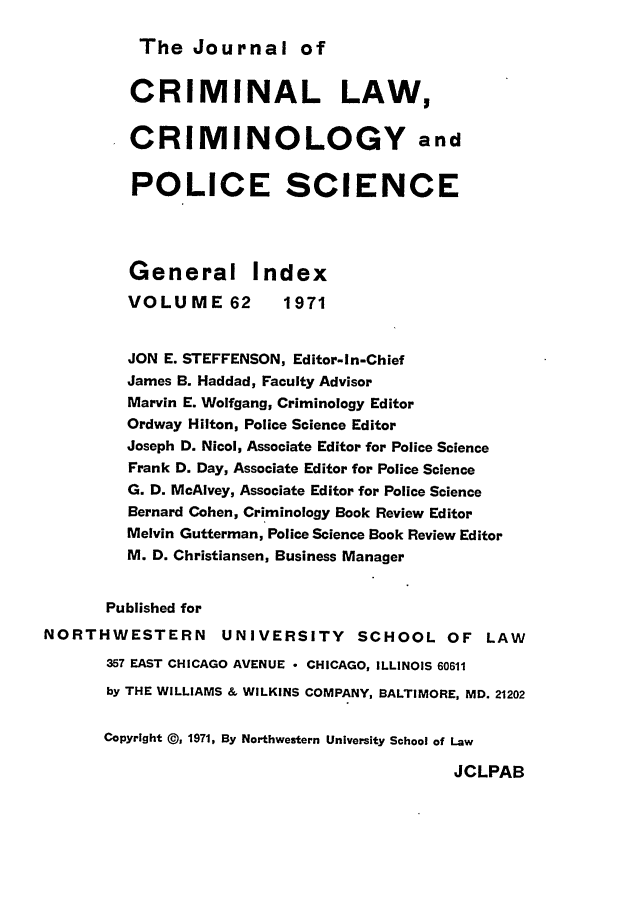 handle is hein.journals/jclc62 and id is 1 raw text is: The Journal of