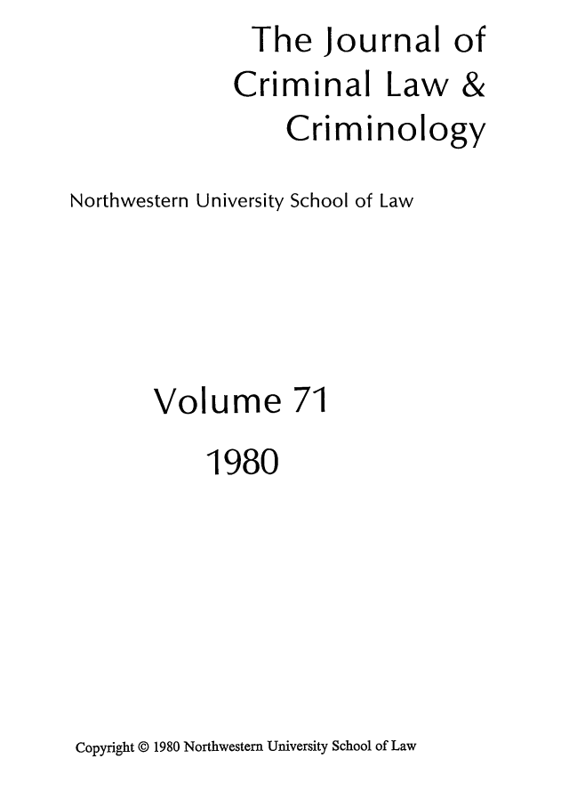 handle is hein.journals/jclc71 and id is 1 raw text is: The Journal of