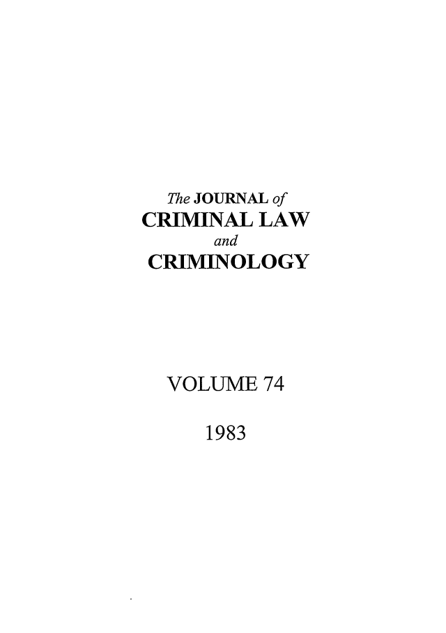 handle is hein.journals/jclc74 and id is 1 raw text is: The JOURNAL of