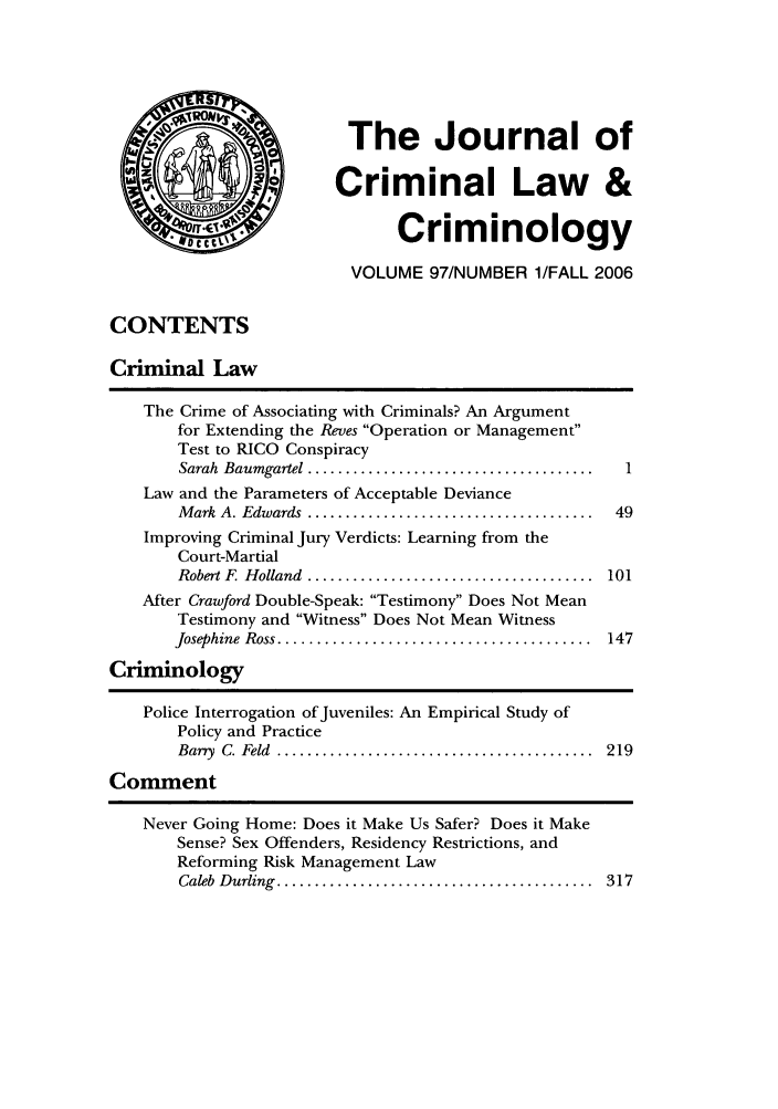 handle is hein.journals/jclc97 and id is 1 raw text is: The Journal of