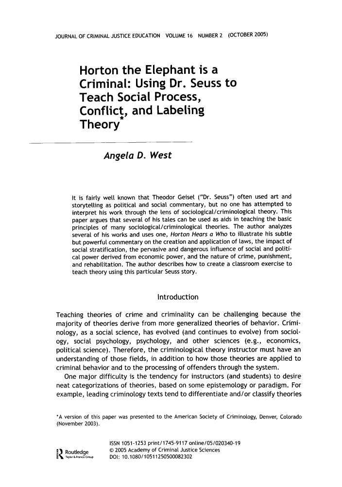 handle is hein.journals/jcrimjed16 and id is 344 raw text is: JOURNAL OF CRIMINAL JUSTICE EDUCATION VOLUME 16 NUMBER 2 (OCTOBER 2005)