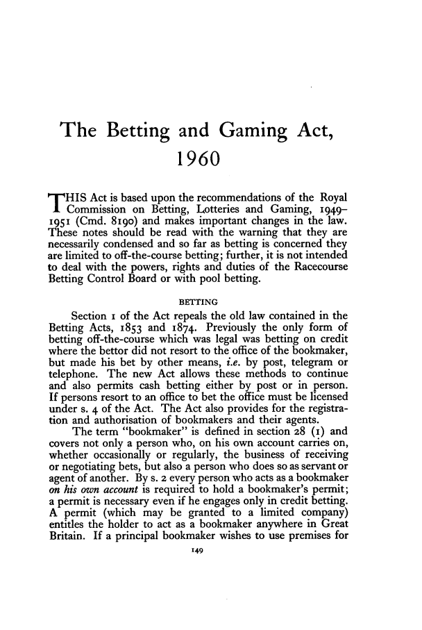 handle is hein.journals/jcriml25 and id is 161 raw text is: The Betting and Gaming Act,