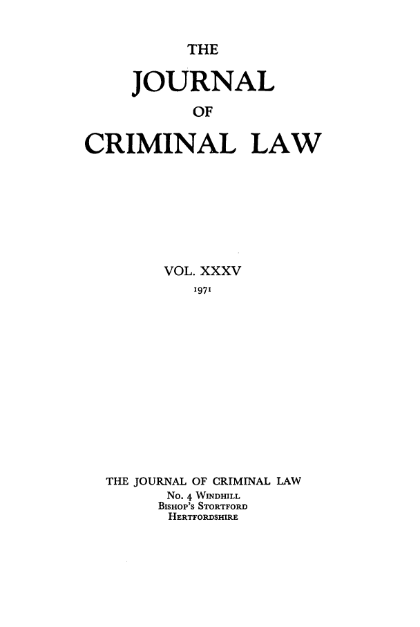 handle is hein.journals/jcriml35 and id is 1 raw text is: THE