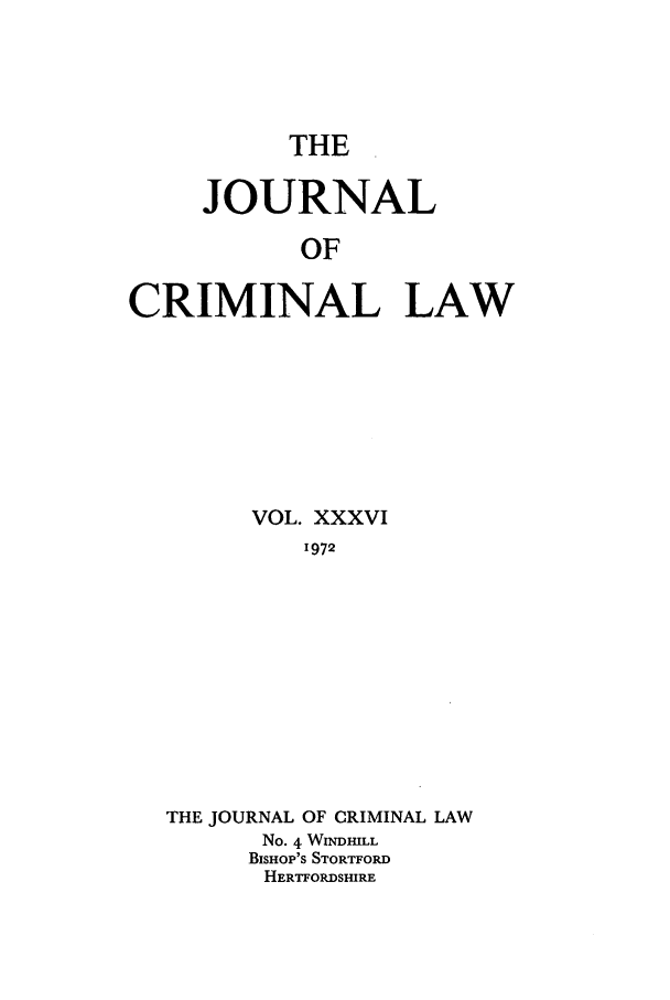 handle is hein.journals/jcriml36 and id is 1 raw text is: THE