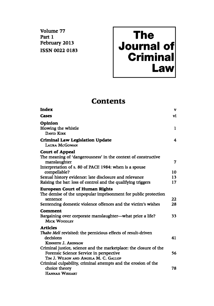 handle is hein.journals/jcriml77 and id is 1 raw text is: Volume 77