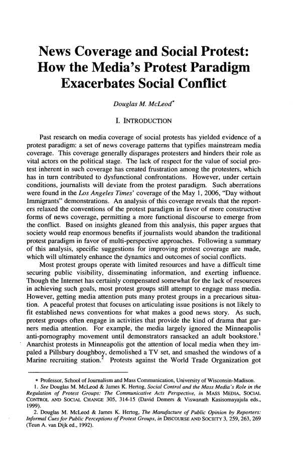 handle is hein.journals/jdisres2007 and id is 189 raw text is: News Coverage and Social Protest: