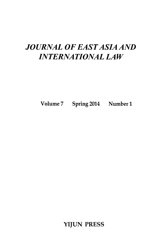 handle is hein.journals/jeasil7 and id is 1 raw text is: JOURNAL OF EAST ASIA AND