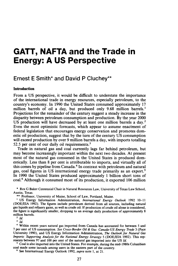 handle is hein.journals/jenrl12 and id is 37 raw text is: GATT, NAFTA and the Trade in