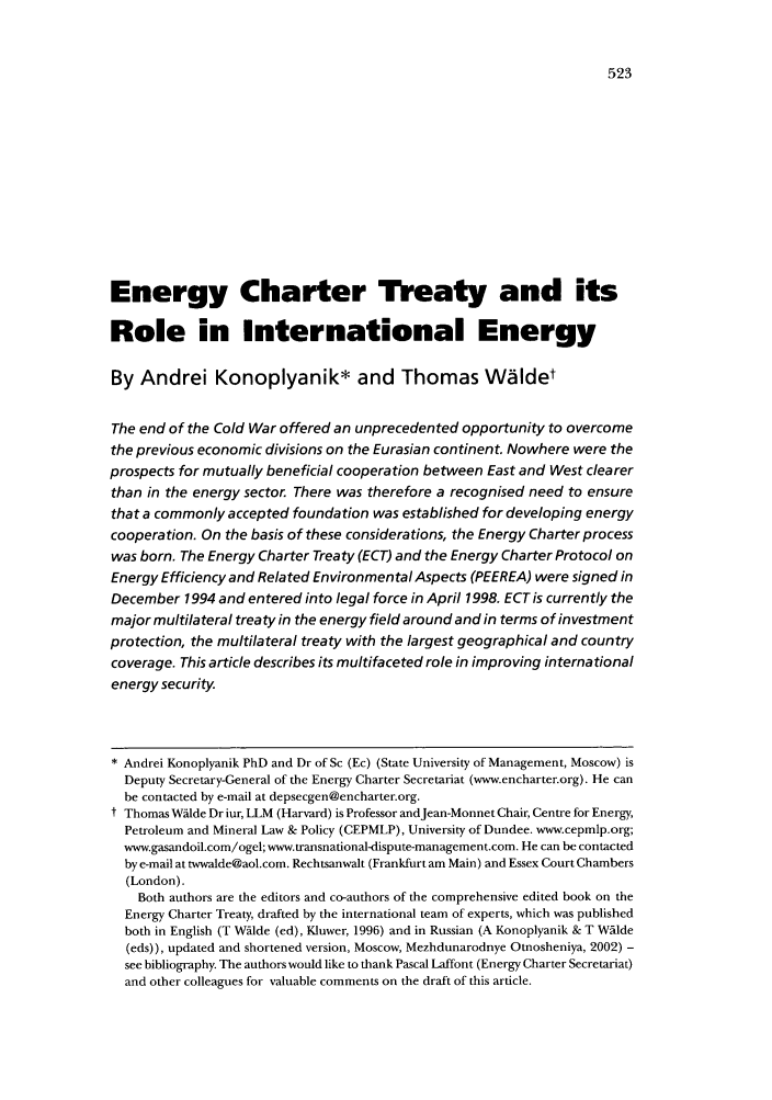 handle is hein.journals/jenrl24 and id is 531 raw text is: Energy Charter Treaty and its