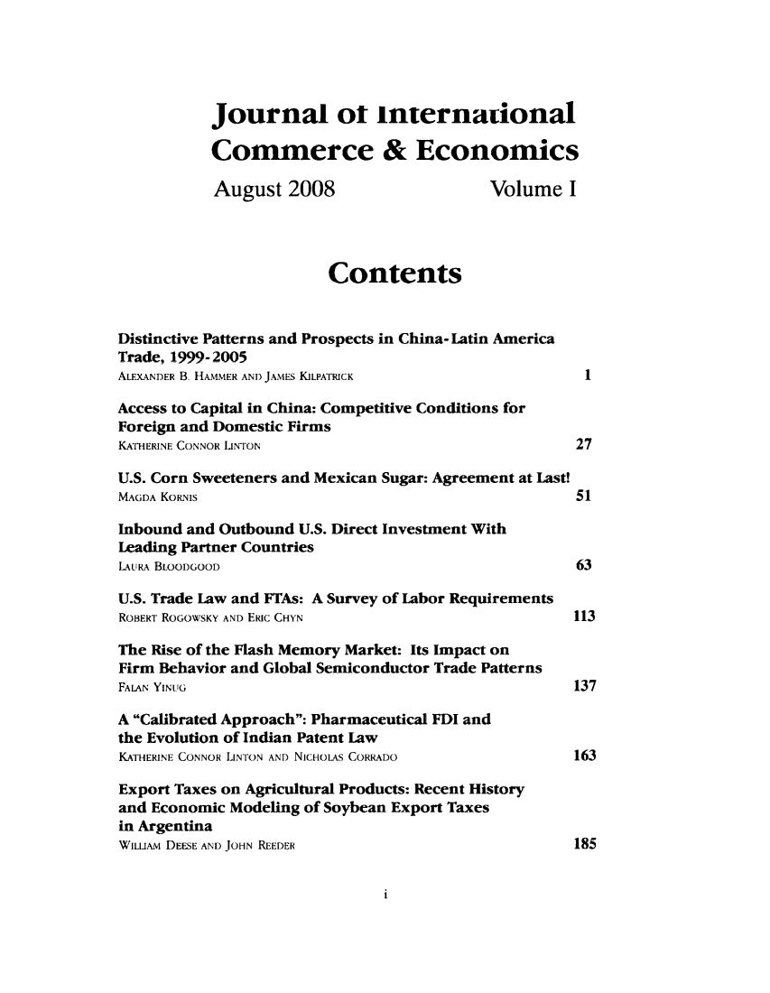Journal Of International Commerce Economics V 1