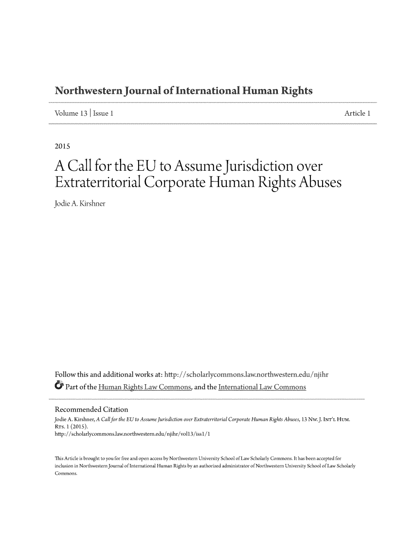 handle is hein.journals/jihr13 and id is 1 raw text is: 