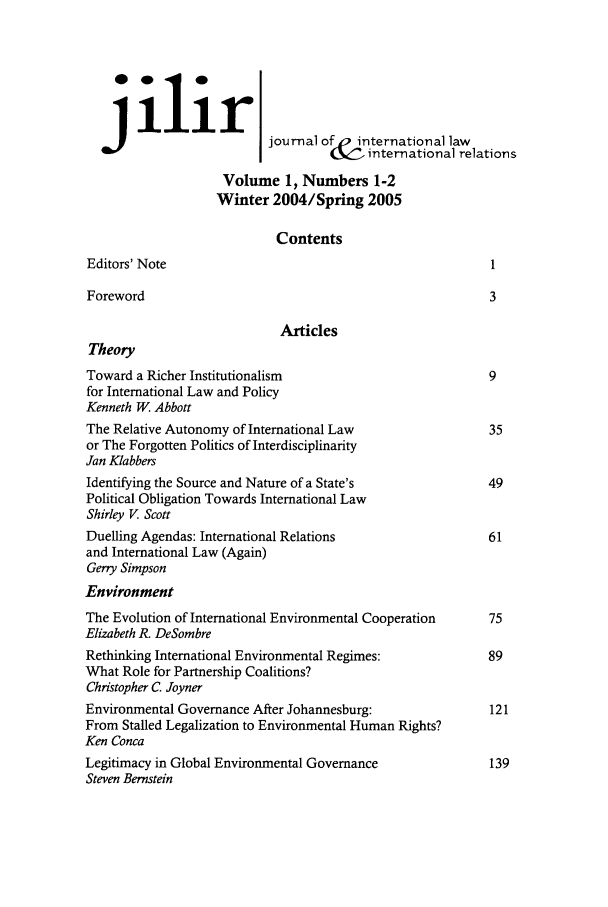 handle is hein.journals/jilwirl1 and id is 1 raw text is: ilir