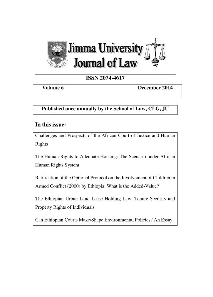Jimma University Journal of Law V  6