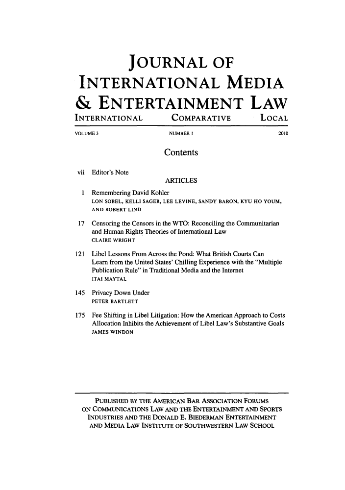 handle is hein.journals/jintmeel3 and id is 1 raw text is: JOURNAL OF