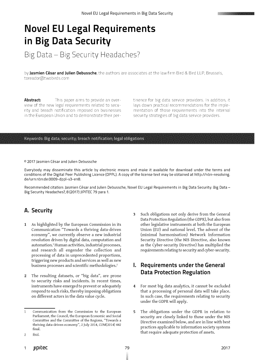 Novel Eu Legal Requirements In Big Data Security Issues Handle Is Heinjournals Jipitec8 And Id 83 Raw Text