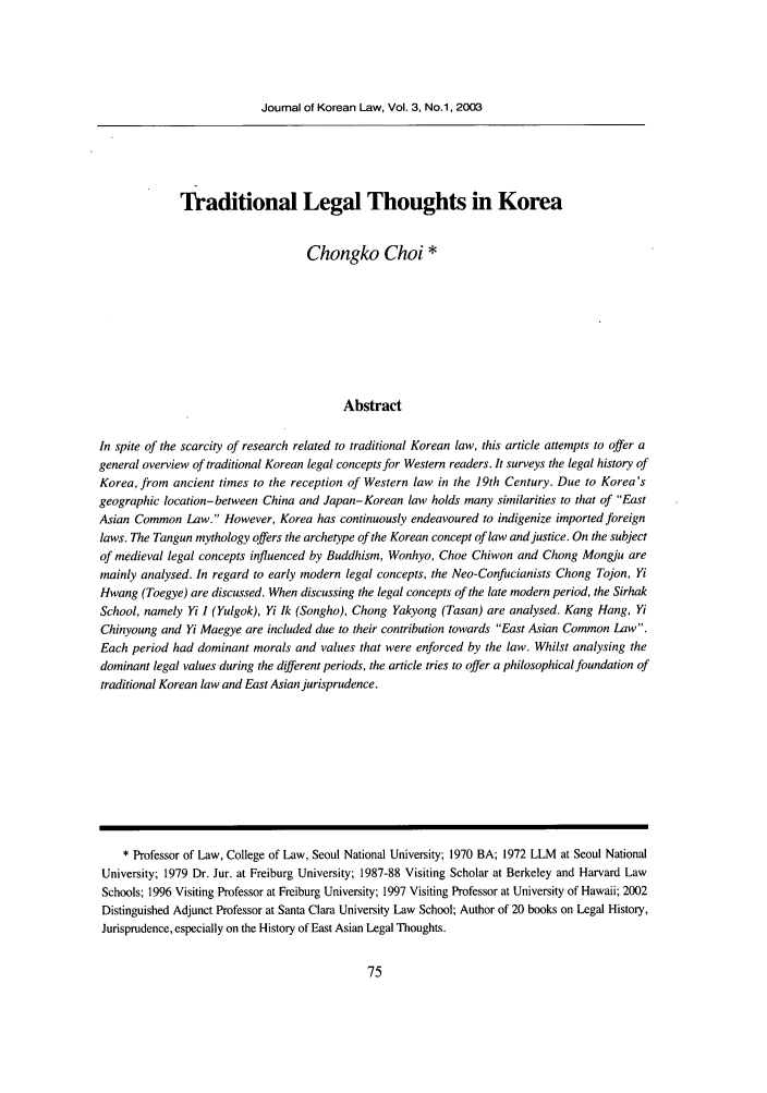 handle is hein.journals/jkorl3 and id is 85 raw text is: Journal of Korean Law, Vol. 3, No.1, 2003