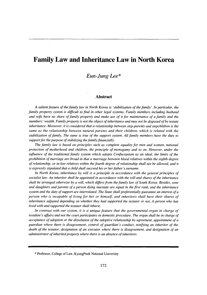 handle is hein.journals/jkorl5 and id is 188 raw text is: Family Law and Inheritance Law in North Korea