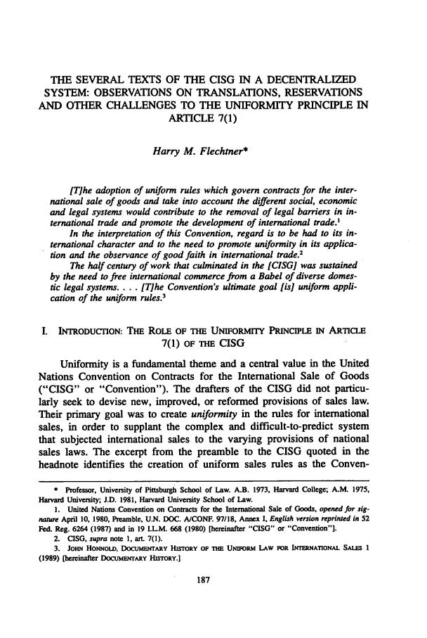 Uniform Law For International Sales - John Honnold