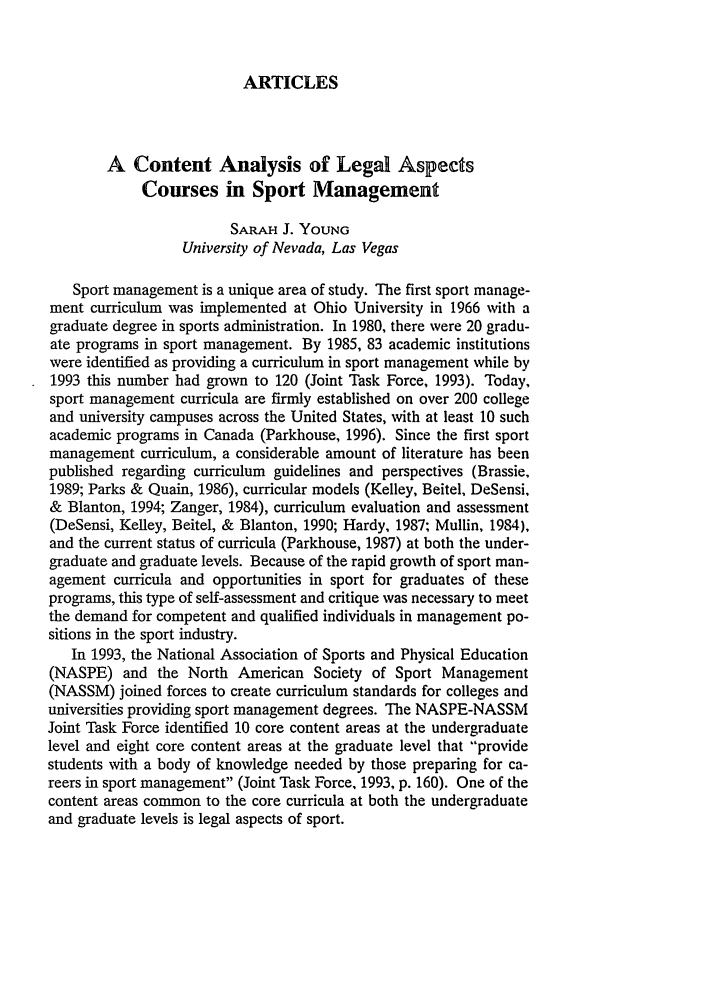 A Content Analysis of Legal Aspects Courses in Sport Management 11
