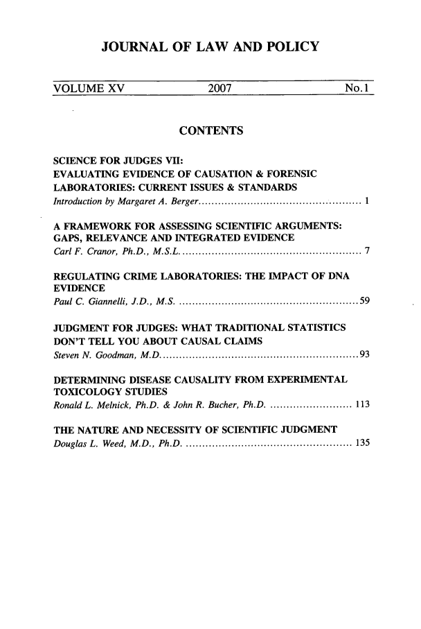 handle is hein.journals/jlawp15 and id is 1 raw text is: JOURNAL OF LAW AND POLICY