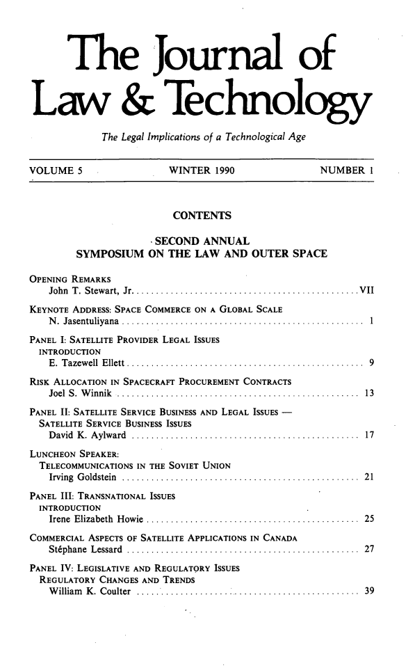 handle is hein.journals/jlawtecy5 and id is 1 raw text is: The Journal of