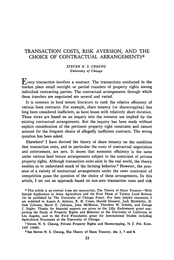 handle is hein.journals/jlecono12 and id is 27 raw text is: TRANSACTION COSTS, RISK AVERSION, AND THE