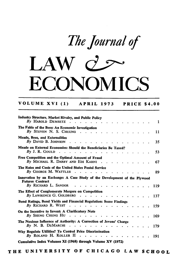 handle is hein.journals/jlecono16 and id is 1 raw text is: The journal of