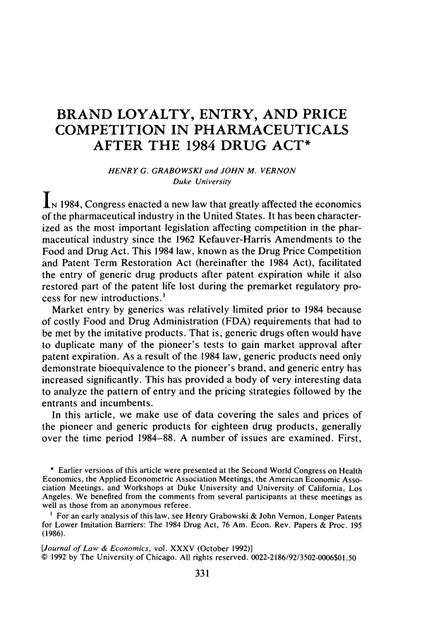 handle is hein.journals/jlecono35 and id is 335 raw text is: BRAND LOYALTY, ENTRY, AND PRICE