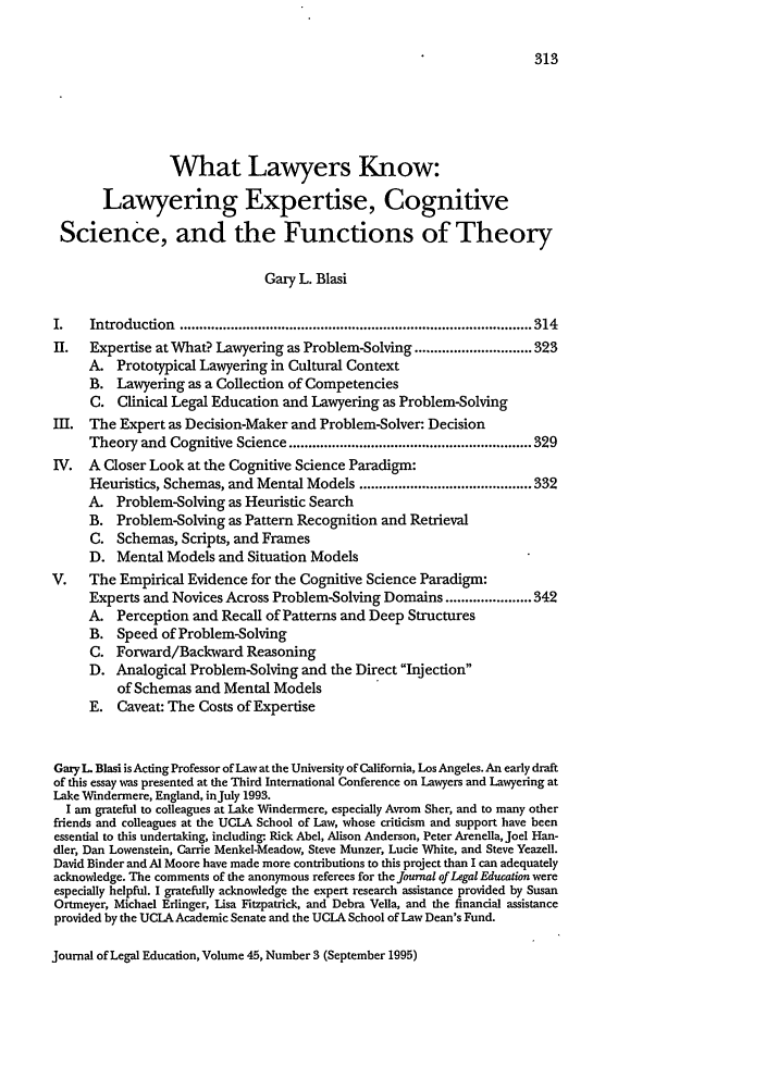 handle is hein.journals/jled45 and id is 323 raw text is: What Lawyers Know: