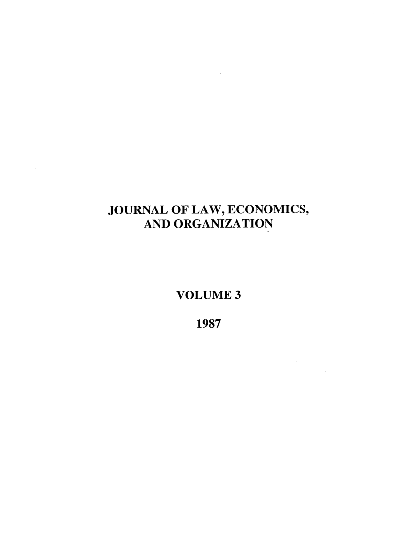 handle is hein.journals/jleo3 and id is 1 raw text is: JOURNAL OF LAW, ECONOMICS,