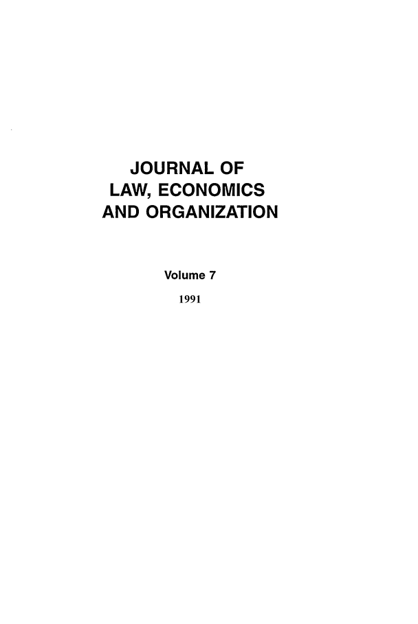 handle is hein.journals/jleo7 and id is 1 raw text is: JOURNAL OF