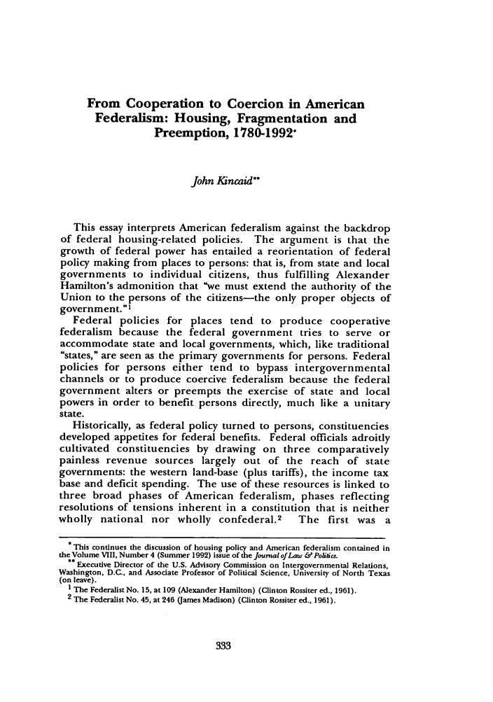 handle is hein.journals/jlp9 and id is 343 raw text is: From Cooperation to Coercion in American