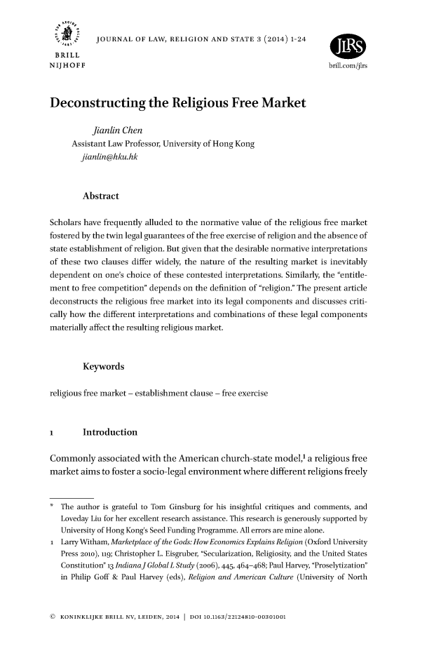 handle is hein.journals/jlrs3 and id is 1 raw text is: JOURNAL OF LAW, RELIGION AND STATE 3 (2014) 1-24