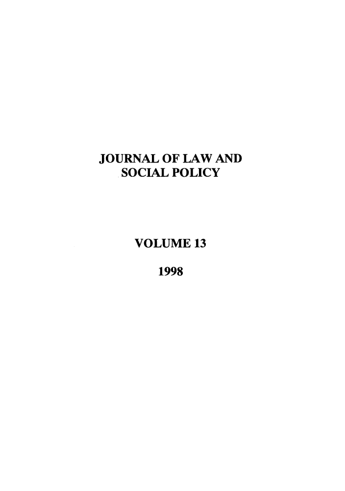 handle is hein.journals/jlsp13 and id is 1 raw text is: JOURNAL OF LAW AND