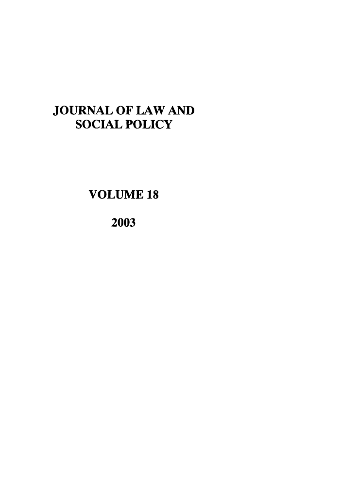 handle is hein.journals/jlsp18 and id is 1 raw text is: JOURNAL OF LAW AND