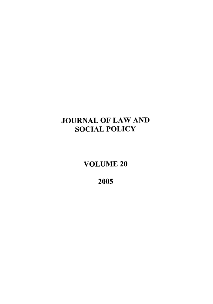 handle is hein.journals/jlsp20 and id is 1 raw text is: JOURNAL OF LAW AND