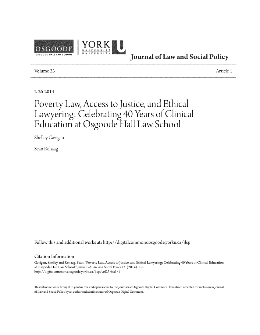handle is hein.journals/jlsp23 and id is 1 raw text is: OSCODG HALL LAW SCMDOL