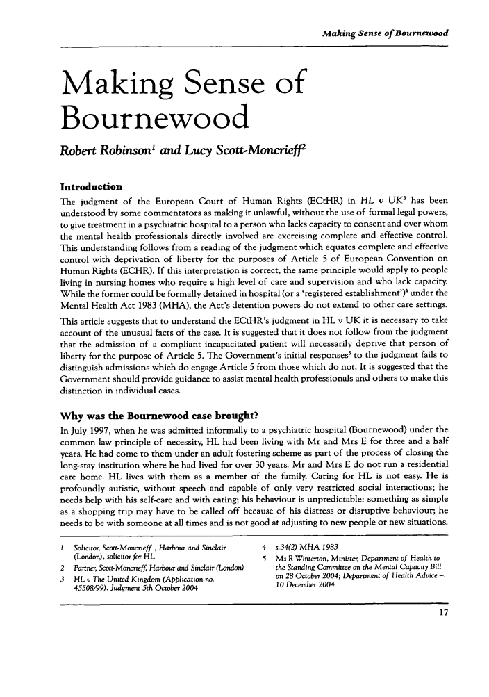 Making Sense of Bournewood Articles and Comments May 2005 ...