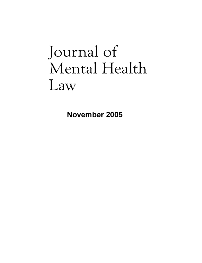 handle is hein.journals/jmhl13 and id is 1 raw text is: Journal of