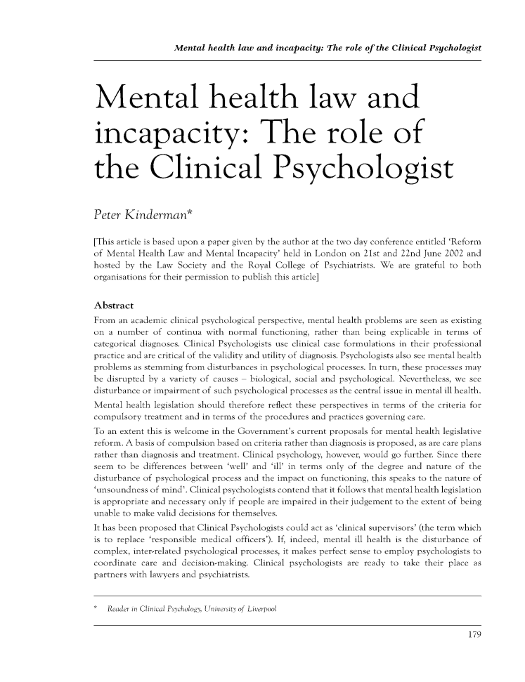 Mental Health Law and Incapacity: The Role of the Clinical ...
