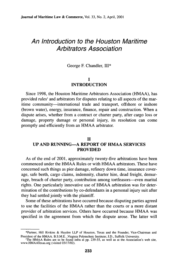 An Introduction to the Houston Maritime Arbitrators Association 33