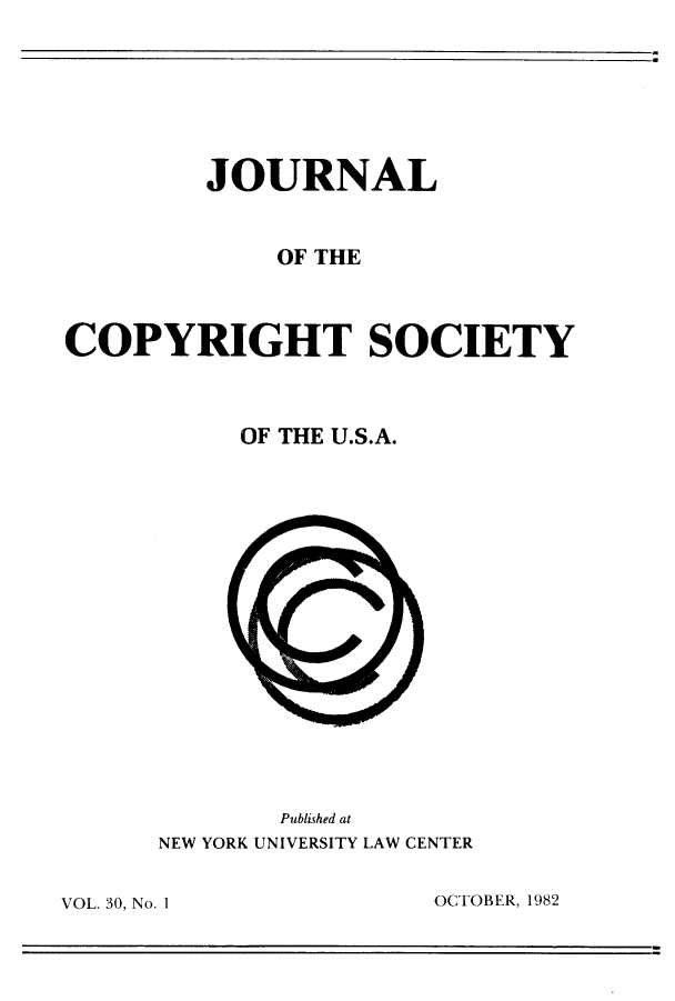 handle is hein.journals/jocoso30 and id is 1 raw text is: JOURNAL