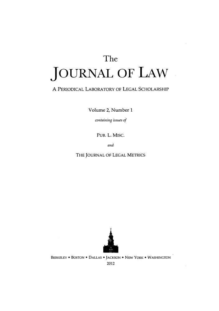 handle is hein.journals/joolaw2 and id is 1 raw text is: The