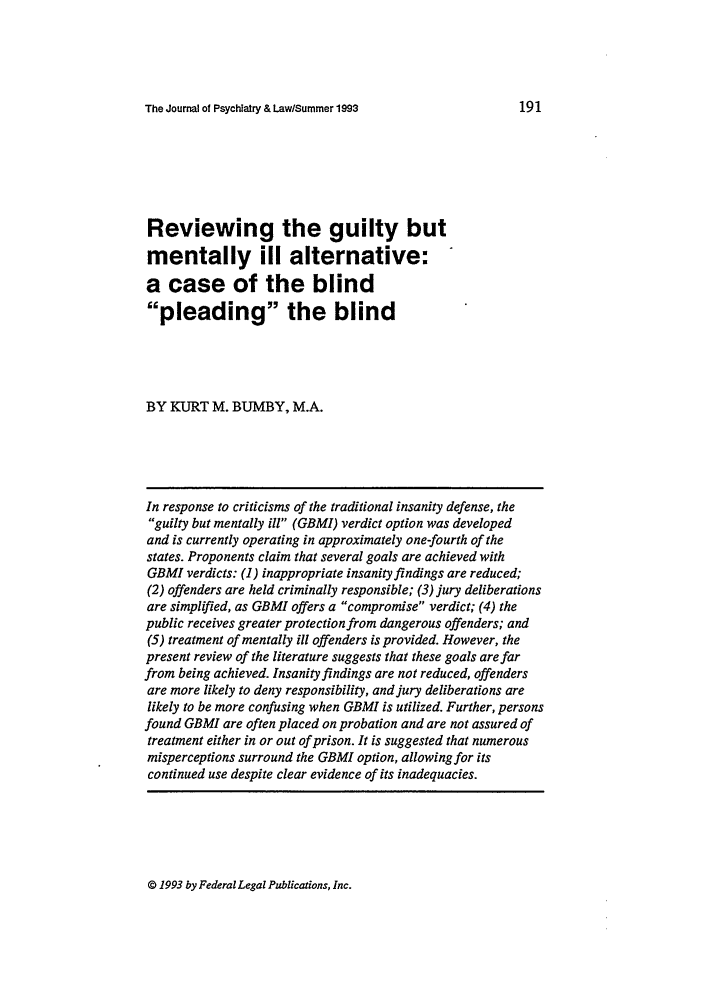 handle is hein.journals/jpsych21 and id is 201 raw text is: The Journal of Psychiatry & Law/Summer 1993